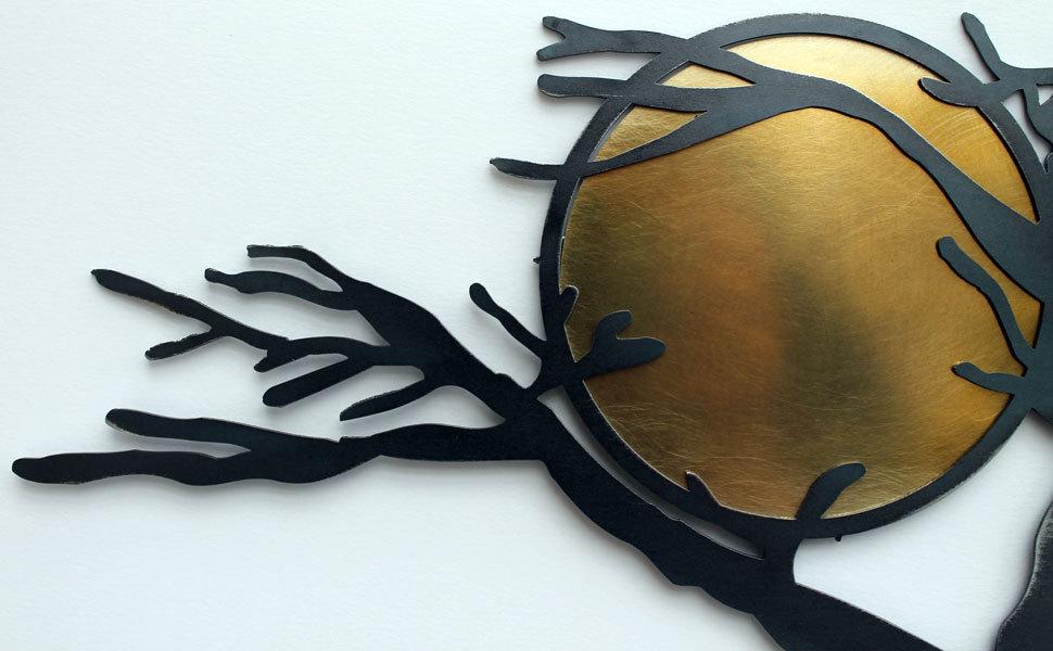 etag re murale arbre m tal noir tablette etagere murale design. Black Bedroom Furniture Sets. Home Design Ideas