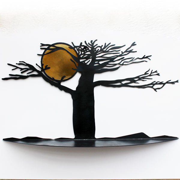 Etag re murale arbre m tal noir tablette etagere murale design for Deco murale design metal