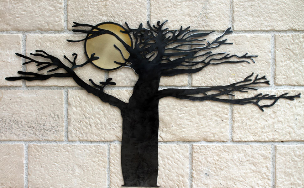 D coration murale arbre et soleil d coration murale design m tal - Decoration murale en metal design ...