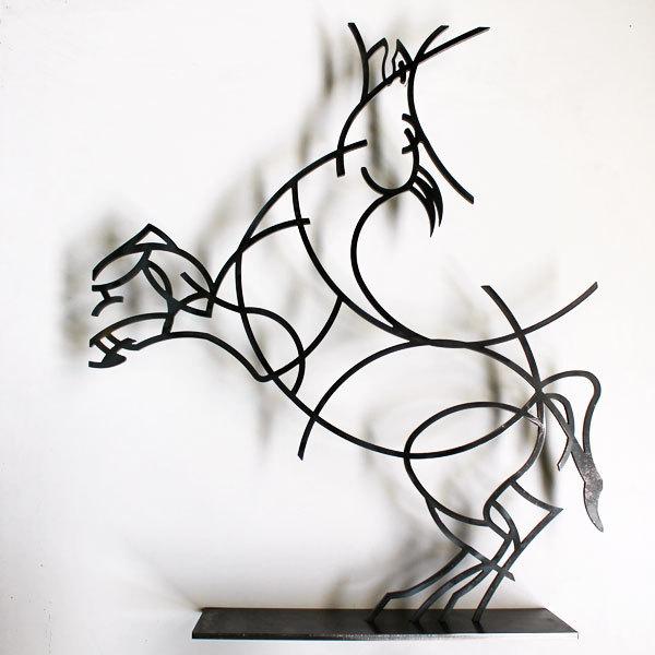 Statuette moderne cheval statue décorative figurine design métal