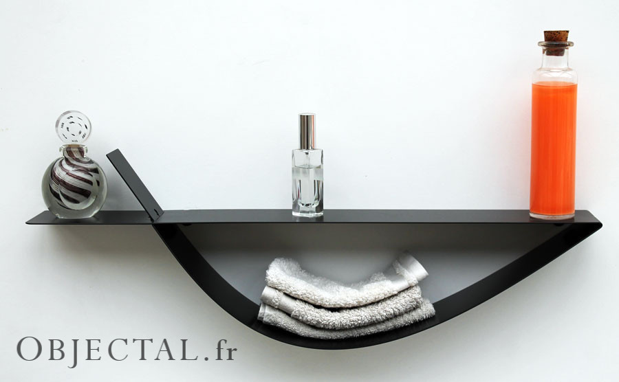 Etag re murale noire tag re design m tal tablette murale for Etagere salle de bain design