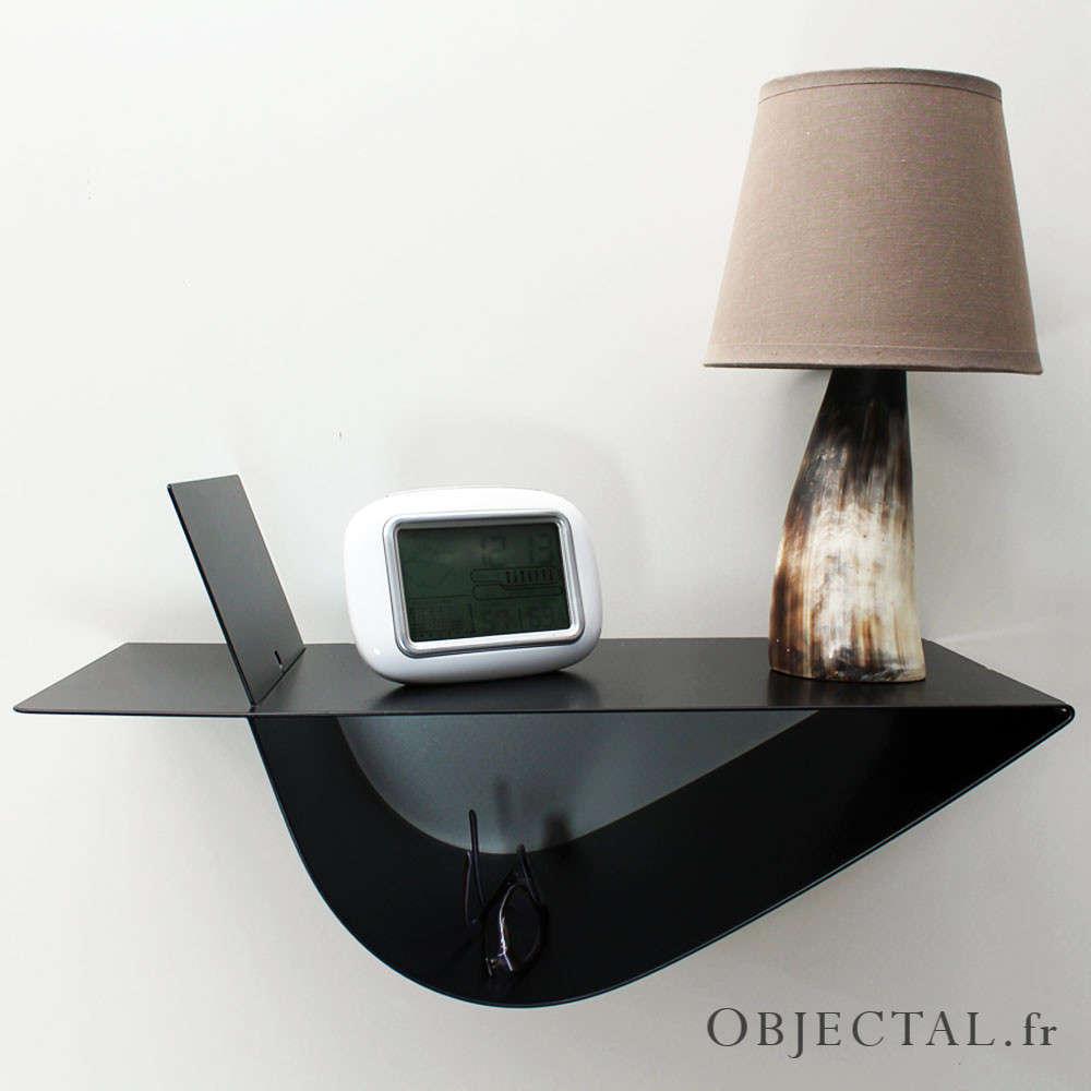 table de chevet suspendue design noire table de nuit moderne