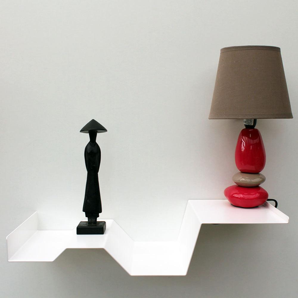 Chevets suspendus blancs lot de 2 tables de nuit moderne m tal Table de nuit moderne