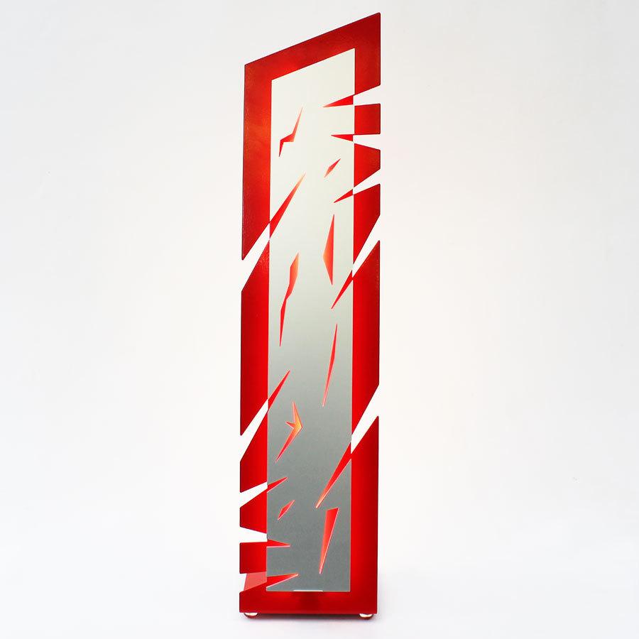 lampe de salon design lampe poser originale rouge et aluminium. Black Bedroom Furniture Sets. Home Design Ideas