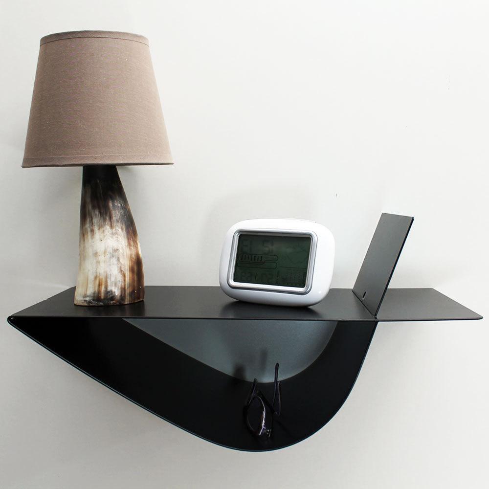 Table de chevet suspendue moderne noire table de nuit murale
