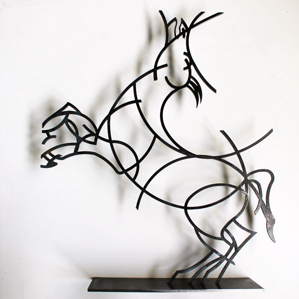 statue cheval statue design acier noir verni statue d coration. Black Bedroom Furniture Sets. Home Design Ideas