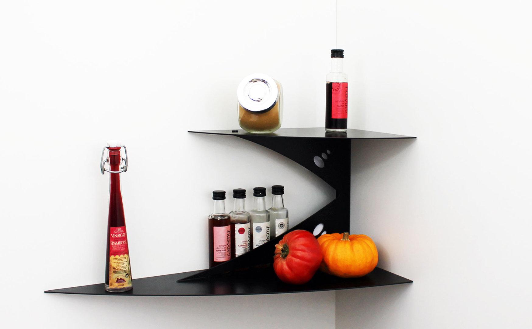 etag re murale d 39 angle noire fixation invisible tablette d. Black Bedroom Furniture Sets. Home Design Ideas