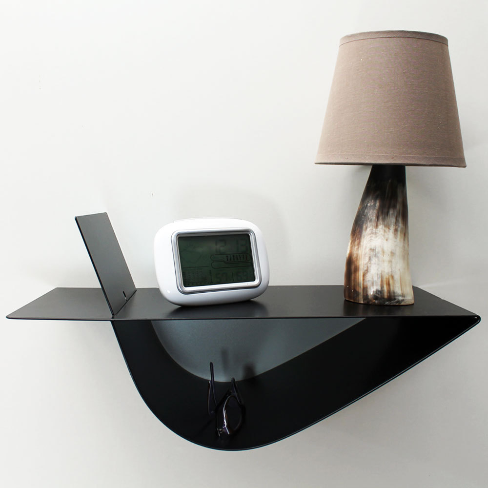 Table de chevet suspendue design noire table de nuit chevet mural - Table de chevet moderne ...
