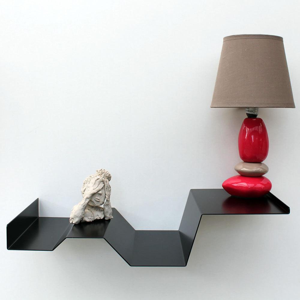 table de chevet suspendue noire chevet mural design objectal. Black Bedroom Furniture Sets. Home Design Ideas