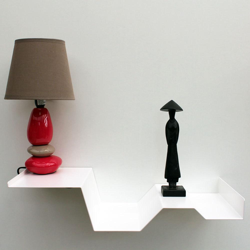 chevets suspendus blancs lot de 2 tables de nuit moderne m tal. Black Bedroom Furniture Sets. Home Design Ideas