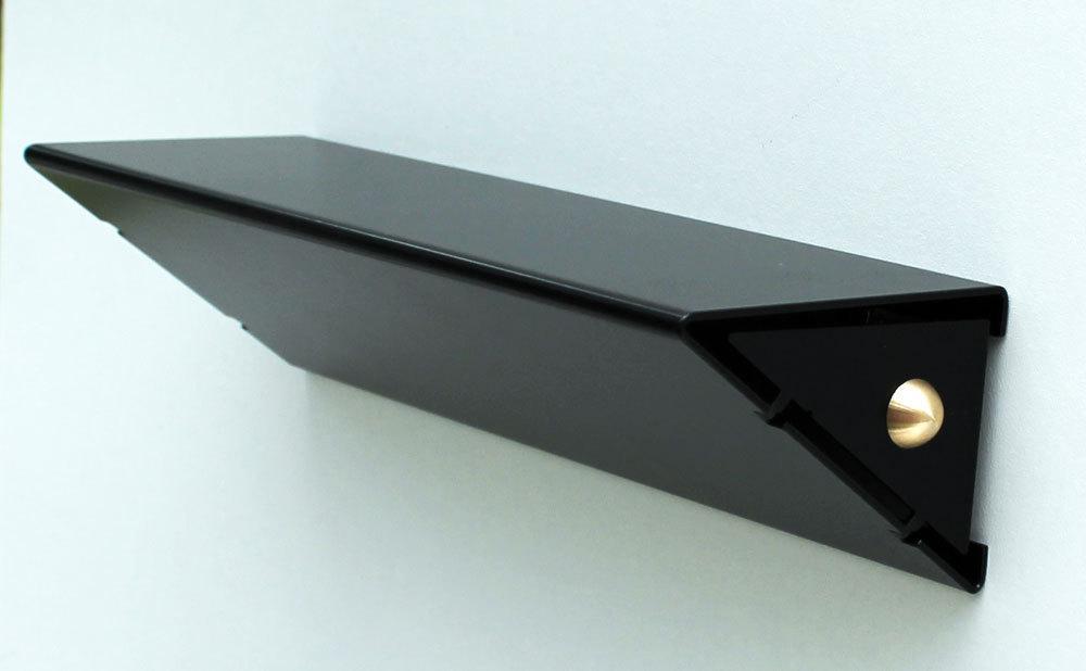 petite tag re murale moderne design slend tablette m tal noir 25. Black Bedroom Furniture Sets. Home Design Ideas