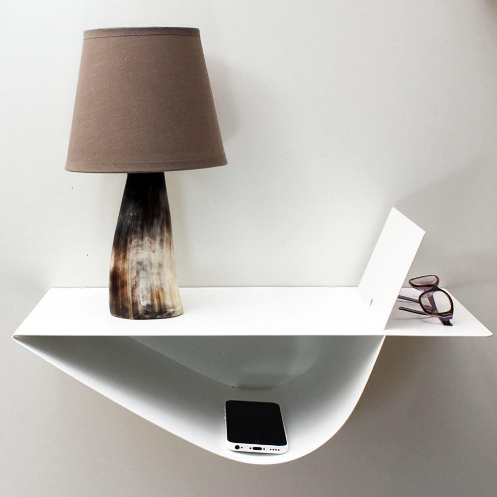 Chevet suspendu design blanc chevet mural table de nuit - Table de chevet blanche design ...