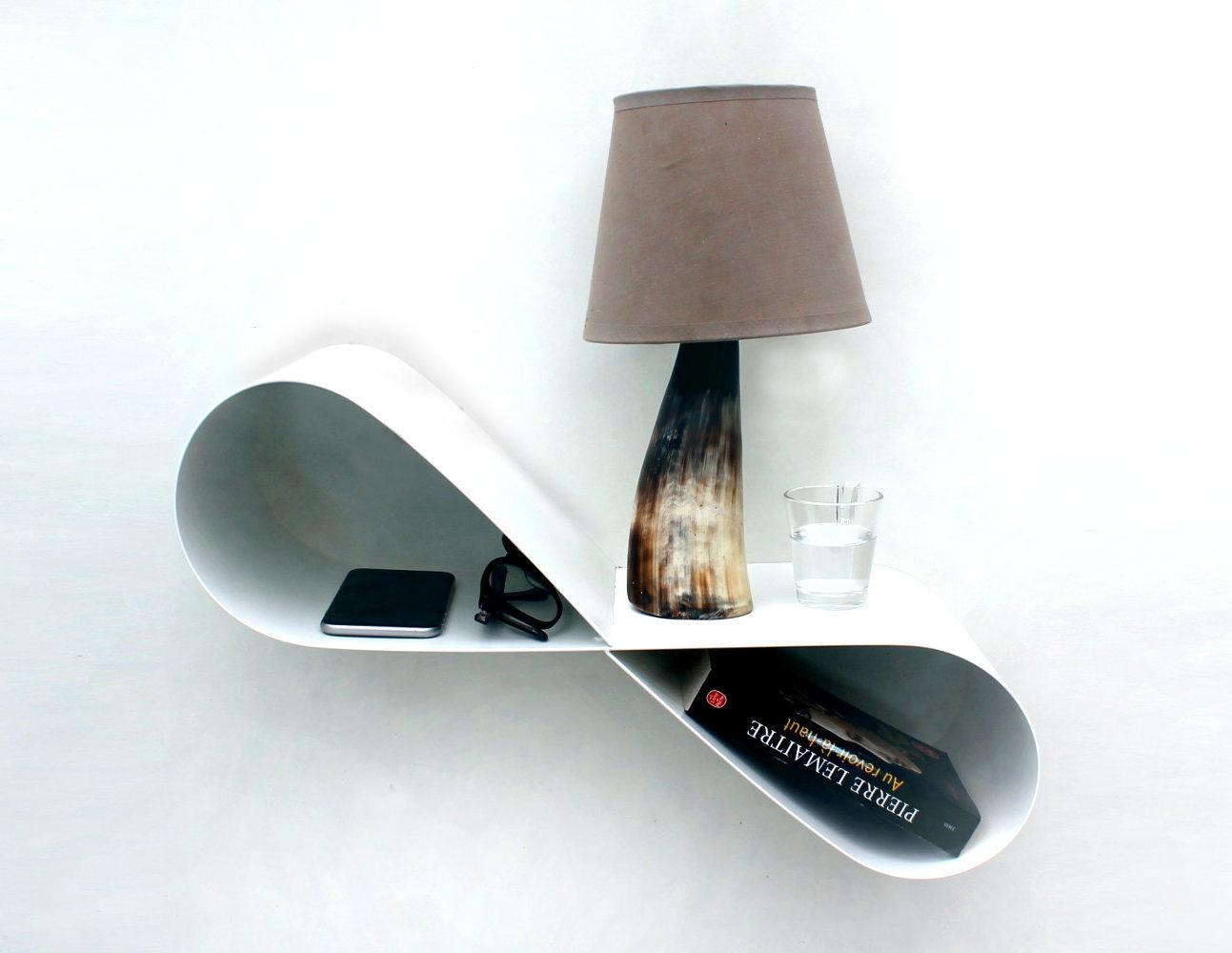Table de nuit suspendue blanche moderne chevet mural design Table de nuit moderne